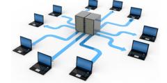 اتصال جهازي حاسب أو أكثر لتبادل البيانات والاشتراك في المصادر
